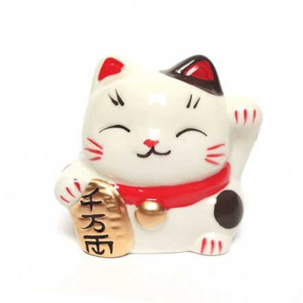 Maneki neko en ceramique - chat blanc