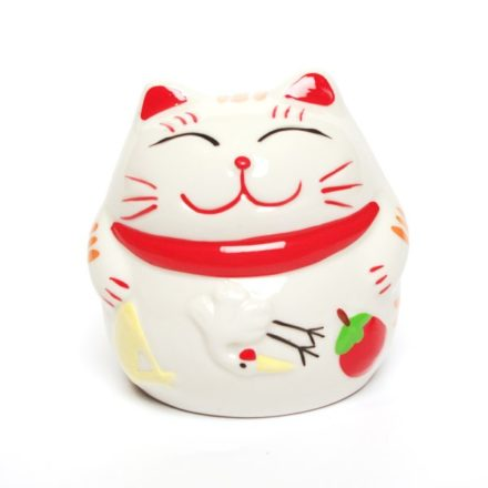 Maneki neko blanc avec trait orange